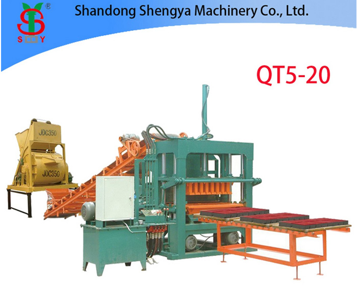 QT5-20 big size semi automatic hydraulic concrete brick making machine, full block production line