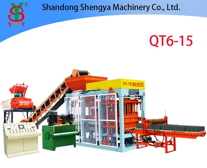 QT6-15 fully automatic hydraulic cement block making machine, brick machine for sale